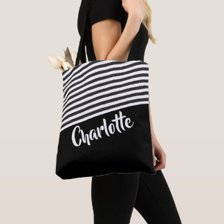 Black and White Striped Pattern Personalised Tote Bag
