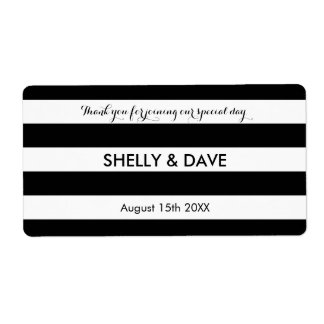 Black and white striped wedding water bottle label
