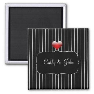 Black and White Stripes Modern Wedding Magnet