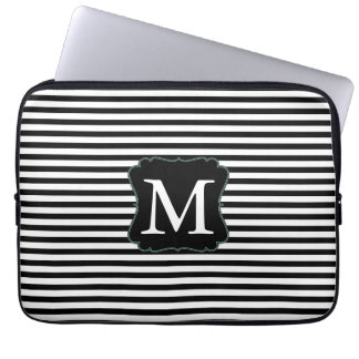 Black and White Stripes Monogram Laptop Sleeve