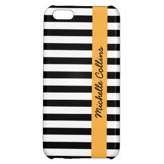 Black and white stripes orange personalized name iPhone 5C covers