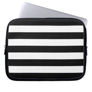 Black and White Stripes Pattern Laptop Sleeve