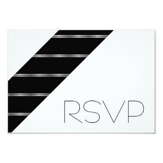Black and White stripes RSVP 9 Cm X 13 Cm Invitation Card