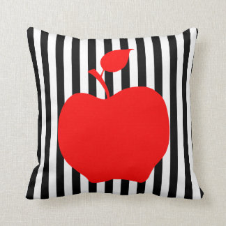 Black and White Stripes with Apple Cushion