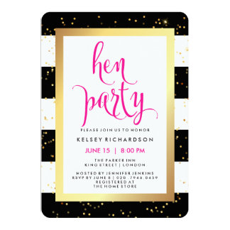 Black and White Stripes with Gold Hen Party 13 Cm X 18 Cm Invitation Card