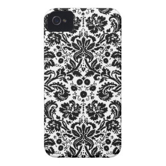 Black and white stylish damask pattern iPhone 4 cover