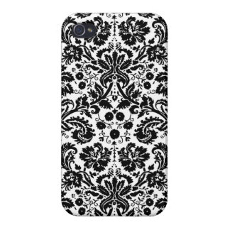 Black and white stylish damask pattern iPhone 4/4S case