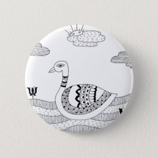 Black and white swan doodle 6 cm round badge