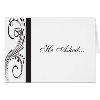 Black and White Swirls Engagement Announcement Greeting Card