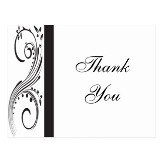 Black and White Swirls Thank You Postcard