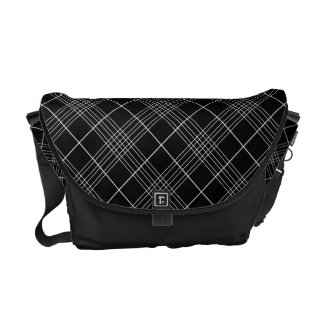 Black And White Tartan Plaid Checked Pattern Courier Bag