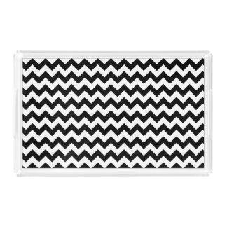 Black and White Traditional Chevron Design Acrylic Tray