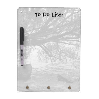 Black and White Tree Silhouette To Do List Dry Erase Board