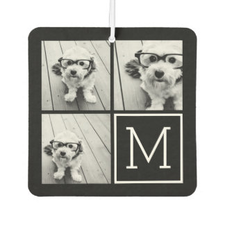 Black and White Trendy Photo Collage with Monogram Car Air Freshener