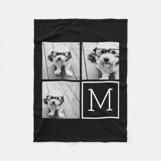 Black and White Trendy Photo Collage with Monogram Fleece Blanket