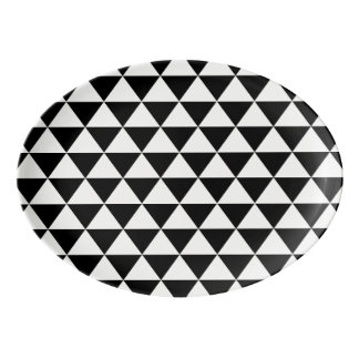 Black and White Triangle Pattern Porcelain Serving Platter