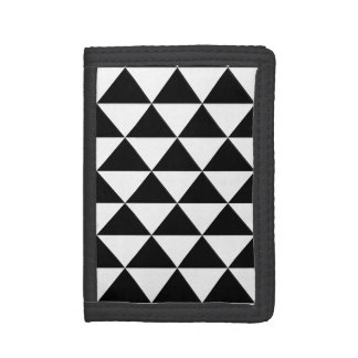 Black and White Triangle Pattern Tri-fold Wallet