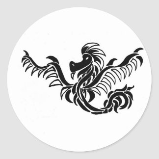 black and white tribal dragon round stickers