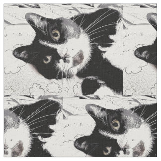 Black and White Tuxedo Cat Fabric