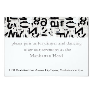Black and White Urban Type Wedding Reception Card