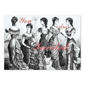 Black And White Victorian Fashions 13 Cm X 18 Cm Invitation Card
