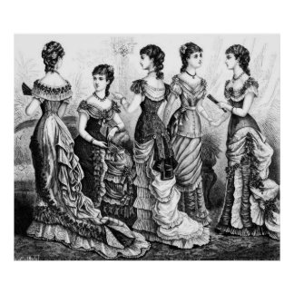 Black And White Victorian Fashions Poster