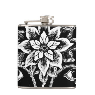 Black and White Victorian Flowers and Swirls Hip Flask