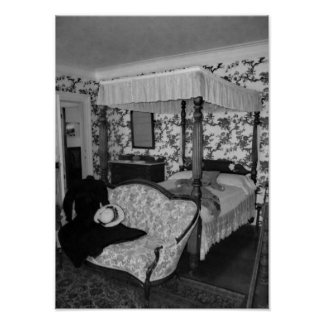 Black And White Vintage Bedroom Photograph Poster