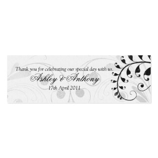 Black and White Vintage Floral Wedding Favour Tags Pack Of Skinny Business Cards