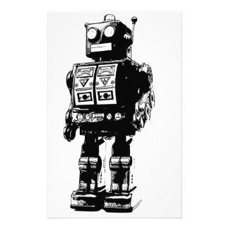 Black and White Vintage Robot Stationery