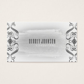 Black and White Watercolor Damask Curves Plain Business Card