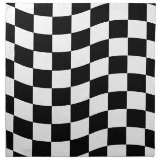 Black and White Wavy Check Design Napkin