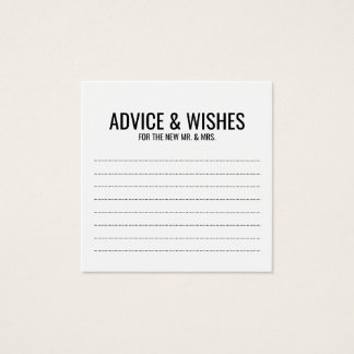 Black and White Wedding Advice and Wishes Square Business Card
