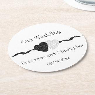 Black And White Wedding Round Paper Coaster