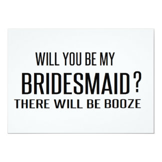 Black and White will you be my bridesmaid funny 13 Cm X 18 Cm Invitation Card