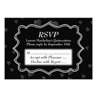 Black and White with Dark Hearts Quinceanera Personalized Invitations
