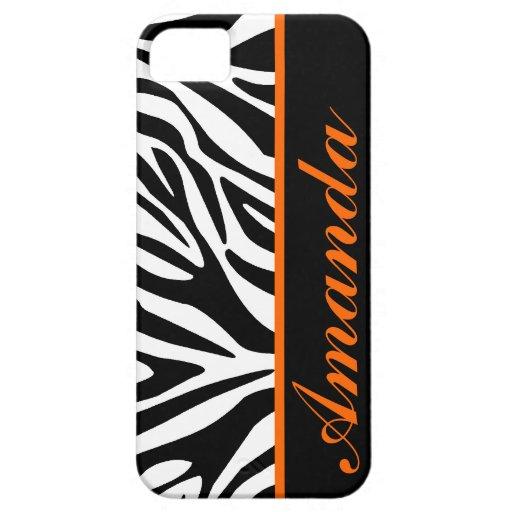Black and White with Orange Zebra Custom Name iPhone 5 Case