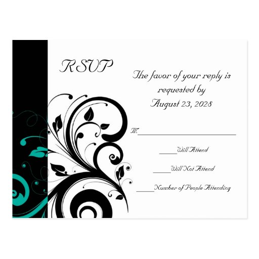 Black and White with Teal Reverse Swirl RSVP Post Card
