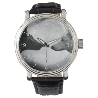 Black and white wolf - moon wolf - lupus wolf watch