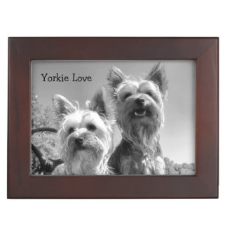 Black and White Yorkshire Terriers Keepsake Box