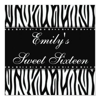Black and White Zebra Diamonds Sweet 16 Birthday 13 Cm X 13 Cm Square Invitation Card