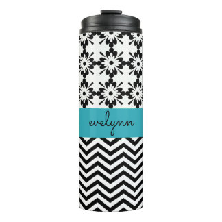 Black and White zigzag floral 2 Personalised Thermal Tumbler