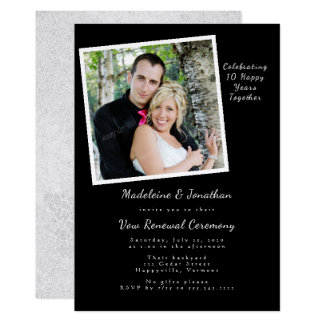Black Anniversary Vow Renewal Photo Invitation