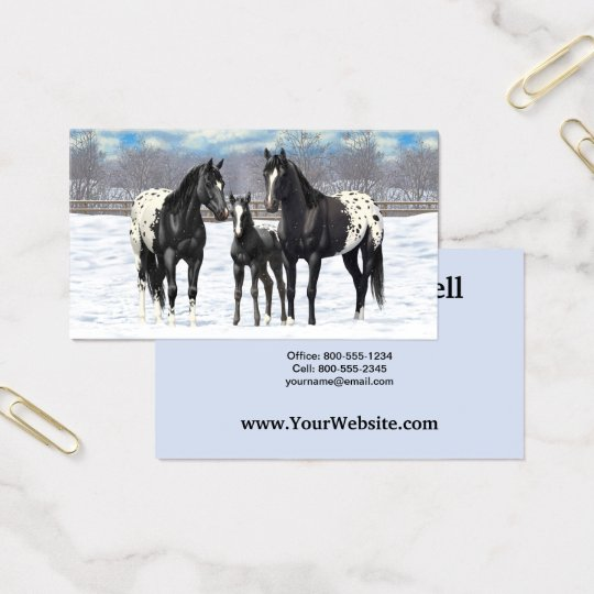 Black Appaloosa Horses In Snow Business Card