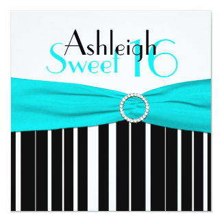 Black, Aqua, White Sweet Sixteen Invitation