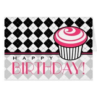 Black Argyle  Birthday Card with Pink Cupcake