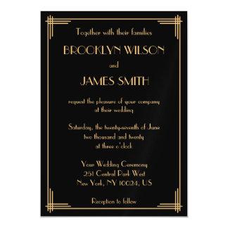 Black Art Deco Great Gatsby Magnet Wedding Invites