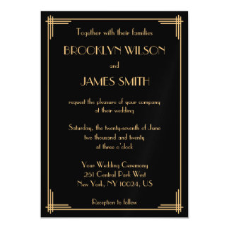 Black Art Deco Great Gatsby Magnet Wedding Invites Magnetic Invitations