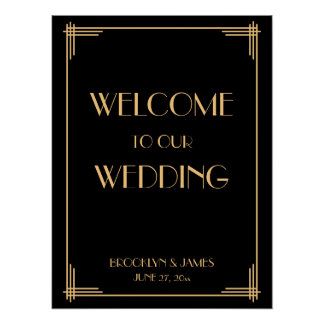 Black Art Deco Great Gatsby Wedding Reception Sign Poster