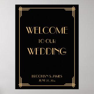 Black Art Deco Great Gatsby Wedding Reception Sign Poster